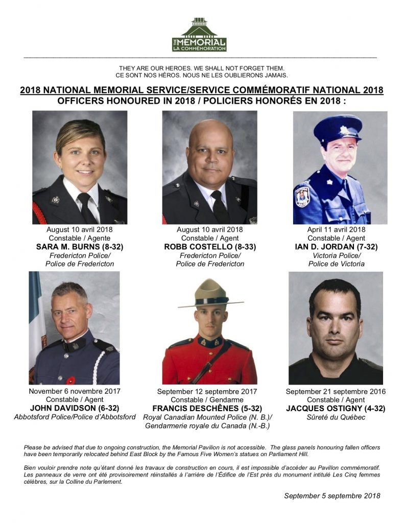 2018 CPPOM Officers being Honoured 791x1024 Canadian Police & Peace Officers Memorial *30Sep2018 * Commémoration des policiers et agents de la paix canadiens